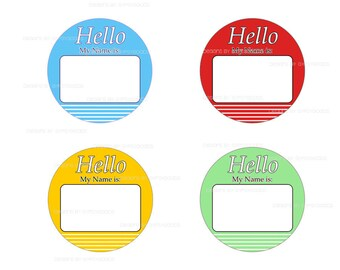 """2.25"""" Name Tag Buttons Qty. (12) Pin Back Buttons Mylar covered printed image for corporate meetings, party name tags, giveaways my name is"""