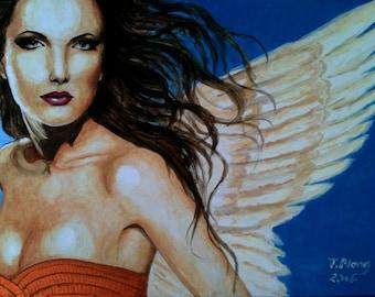 Contemporary original acrylic on canvas painting Portrait woman