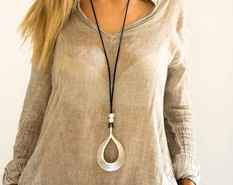 Drop silver pendant, Long necklace, Statement necklace, Large necklace, Silver necklace, Stylish necklace, Pendant necklace, Classic style.