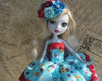 Monster High Doll Dress Blue Floral Print with Flower Hat