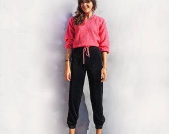 Velvet Trouser, Black Velvet Pants, High Waist Trousers, 1980's Velvet Pants, Vintage Velvet Trousers, Tapered Trousers, Smart Trousers, 80s
