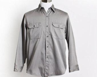 Vintage 60s Men's Shirt - BIG MAC Penney's Cotton Button Down Work Shirt 1960s - Medium 16