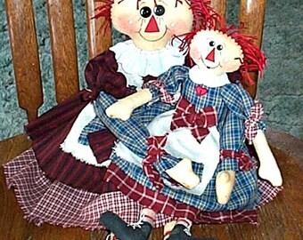 Rag Doll Pattern, Two Primitive Doll Patterns, Cloth Doll Pattern, Doll Pattern, Rag Doll Patterns, Sewing Patterns, E-Patterns, Big Sister