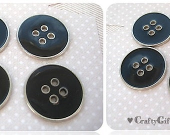 Black & Silver Metal Buttons (4)