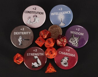 D & D Buttons, attributes, strength, constitution, intelligence, charisma, wisdom, roll, dungeons and dragons