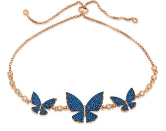 Silver Dark Blue Butterfly Bracelet - Lift Mechanism - Rose Color - 925K Silver