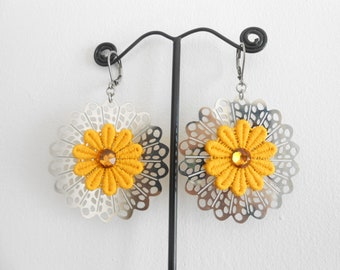 Large stainless steel and yellow lace earrings