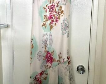 Chiffon Flower Printed Ruffled Dress