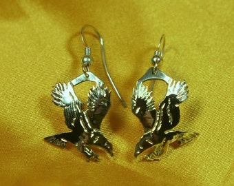 Silver Eagle Dangle Earrings.