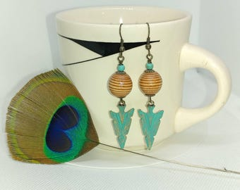 Turquoise metal arrows and light wood bead earrings