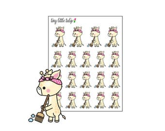 Planner Stickers Giraffe Cleaning