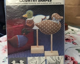 35% OFF SALE Stik 'n puffs country shapes crafting ducks craft supply 1983 wedding country decor