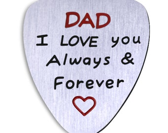 Pure Steel Fathers Day gift from daughter or son. Remember I love you Dad  Guitar Pick