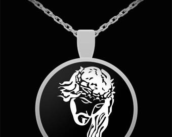 Jesus Crown of Thorns Necklace; White on Black background, Black on Grey or White on Grey, in gold or silver plate. Powerful image of Christ