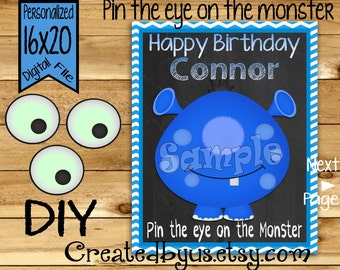 Pin the Eye on the Monster PRINTABLE party game Monster Birthday Party Game ideas Pin the Tail DIY 16x20 Printable game poster Download