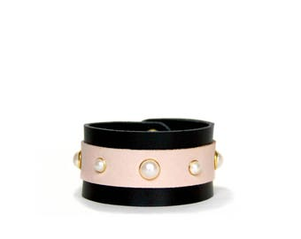 Pearl Studded Cuff -- Black & Natural Leather