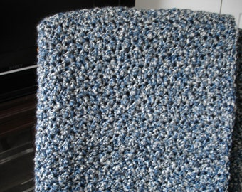 Navy Blue/Gray Afghan, Throw Blanket, Sofa Throw, Crocheted Blanket, Crocheted Afghan, Housewarming Gift, Hostess Gift