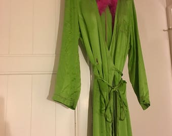 Lime Green Silk Lounge Robe