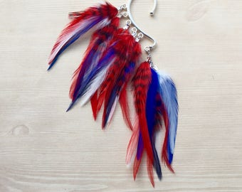 Red, White & Blue Feather Ear Wrap