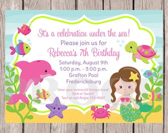 PRINTABLE Mermaid Birthday Party Invitation / Under the Sea Birthday Party Invitation / Choose Mermaid's Hair Color / You Print - 0022