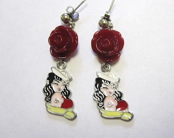 Tattoo Style Earrings Red Rose Rockabilly Pinup Sailor Girl