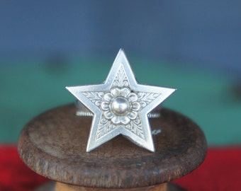 Solid Silver Antique Star Ring