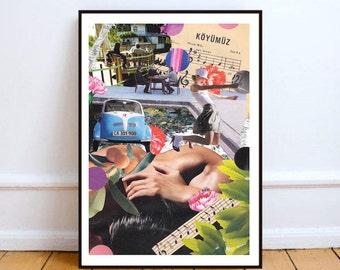 "Fiat 500, sheet music art, paper collage art, mixed media collage art, surreal art, home decor wall art, sheet music print - ""Ride my soul""."
