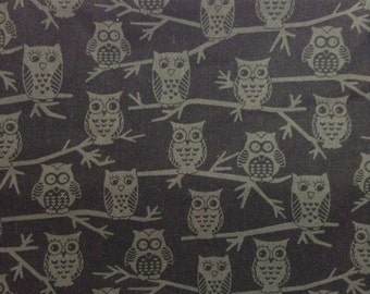 SALE - One Half Yard of Fabric Material - Owls on Black