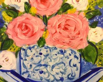 french country , cottage chic, vintage floral art, 12 x12 canvas panel , floral bouquet  fine art.