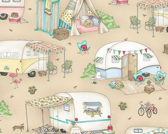 Maywood Studios Roam Sweet Roam Sand Glamour Trailers Fabric - 1 yard