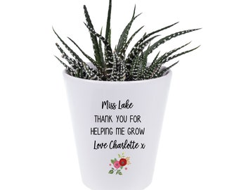 Teacher Gift, Personalized Plant Pot, Thank You For Helping Me Grow,  Mini Planter, Potted Succulents, Pencil Pot, Desk Organizer, Pastor