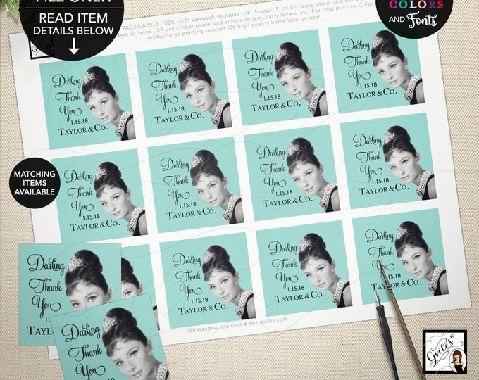 "Thank you Tags, Labels, Favors gifts, Bridal Shower, Printable Audrey Hepburn Party Themed.  2x2"" 12 Per/Sheet"