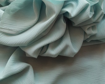 Fine Crinkle Crepe Fabric in Eau de Nil - UK seller