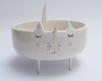 Caticorn - unicorn cat, unicat, sweet ceramic bowl, planter, trinket dish