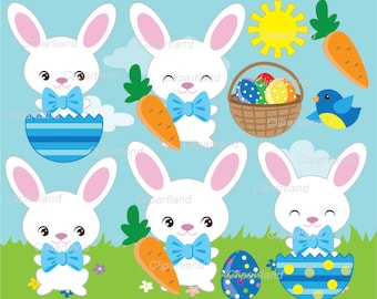 INSTANT Download.  Easter bunny clip art. Cbu_7. Personal and commercial use.