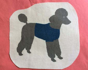 Image sewing gray dog with Blue Coat on a white background