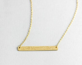 Mom Bar Necklace, Custom Bar Necklace, Mommy Necklace, Bar Necklace, Mother Gold Necklace, Personalized Necklace, Engraved Necklace, SN0345