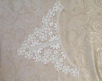 1 piece acrylic aplique. Embroidery lace aplique, white lace trim, white lace aplique. White lace collar