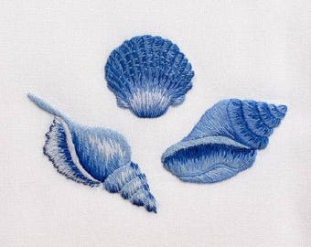 Machine Embroidery Designs Three Vintage seashells