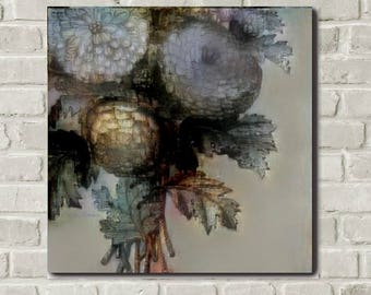 Grisanthemums 1: Printable Floral Wall Art, Digital Download, All Sizes, Gray, Blue, Decor, Flowers, Contemporary, Free Accent Prints