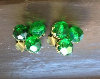 SALE: Green earrings, Sparkly Green Earrings, Green clip on earrings, green costume jewellry,  west germany earrings, st patricks day