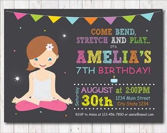 Yoga Birthday Invitation, Yoga Invite, Yoga Party, Chalkboard, printable