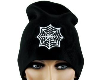 Round Gothic Spider Web Cobweb Beanie Hat - YDS-EPT-300-Beanie