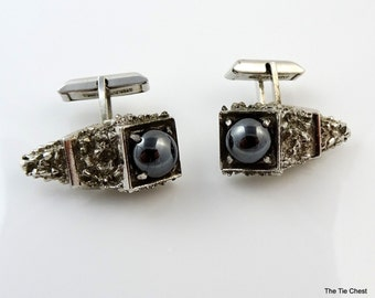 Sterling Silver Cufflinks Vintage Hinged Stems Hematite