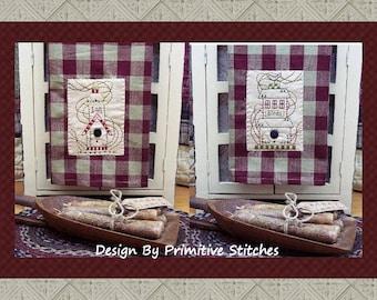 Birdhouse Hand Towel Collection-Primitive Stitchery  E-PATTERN-Instant Download