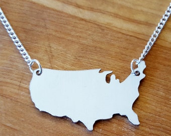 State Charm Necklace, USA Necklace, Custom State Jewelry, America Necklace, Map Gifts, Fourth of July, Map Necklace