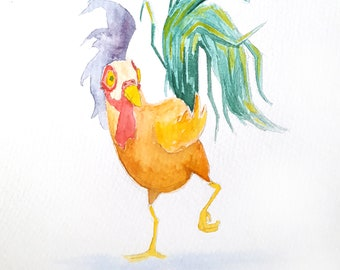 Rooster Watercolour Print 6x9