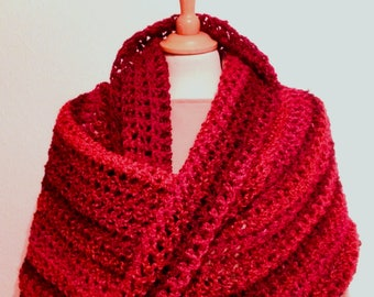 Handmade Crochet Infinity Scarf Mobius Twist Cowl, Red Mix Crocheted Shawl Snood Hooded Wrap Gift FREE UK POSTAGE