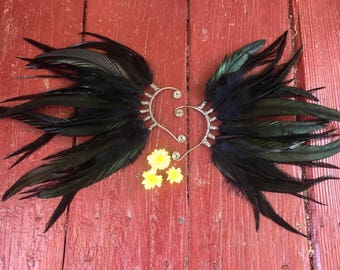 Raven Feather Ear Cuff, crow, black feather earrings, ear piece, ear wing, halloween costume, witch, gothic, festival