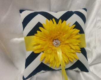 CHEVRON WEDDING RING pillow navy and white Ringbearer Pillow zigzag chevron with yellow flower